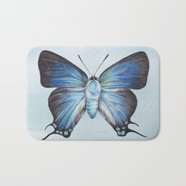 Butterfly Moth Illustration | Watercolour Painting | Insect | Blue | Nursery | Baby Room Bath Mat