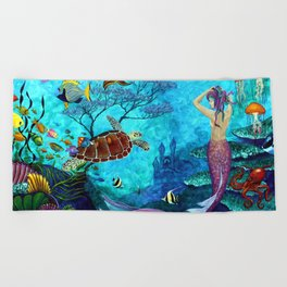 A Fish of a Different Color - Mermaid and seaturtle Beach Towel