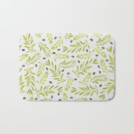 Watercolor Olive Branches Pattern Bath Mat