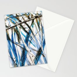 leaves in blue Stationery Cards