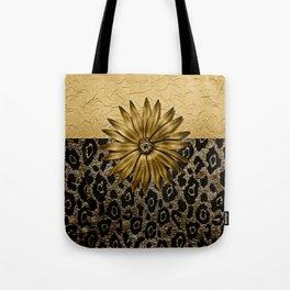 Animal Print Brown and Gold Animal Medallion Tote Bag