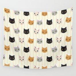 Cute Kitten & Stripes Pattern Wall Tapestry