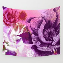 Hand Drawn Peony Flower with Watercolour Background Wall Tapestry