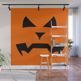 """Kerouac"" Jack O'Lantern - Halloween, Pumpkin, Orange, Black Wall Mural"