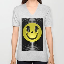 Vinyl headphone smiley Unisex V-Neck