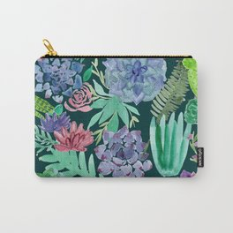 Watercolor Succulent Collage Carry-All Pouch