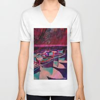 boats V-neck T-shirts featuring vintage boats by  Agostino Lo Coco