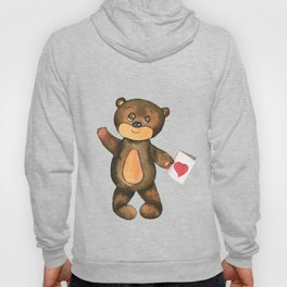 bear with postcard and heart Hoody