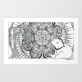 Polar Bear Mandala by Lady Lorelie Art Print