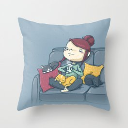 On the couch Throw Pillow