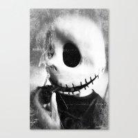 jack skellington Canvas Prints featuring smoking jack skellington by Joedunnz