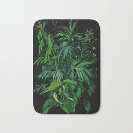 Summer Greenery, Green & Black Bath Mat