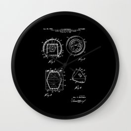 Magic Eight Ball Patent - White on Black Wall Clock