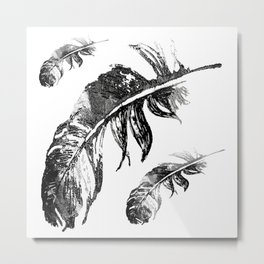 FEATHERS IN BLACK WHITE AND GRAY Metal Print