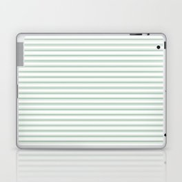 Mattress Ticking Narrow Horizontal Striped Pattern in Moss Green and White Laptop & iPad Skin