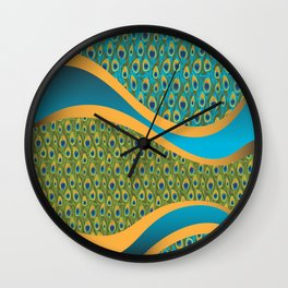 Peacock Print in Blue Wall Clock