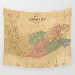 Vintage Map of Roxbury Massachusetts (1849) Wall Tapestry