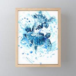 Three Sea Turtles, blue bathroom turtle artwork, Underwater Framed Mini Art Print