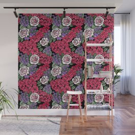 Chevron Floral Black Wall Mural