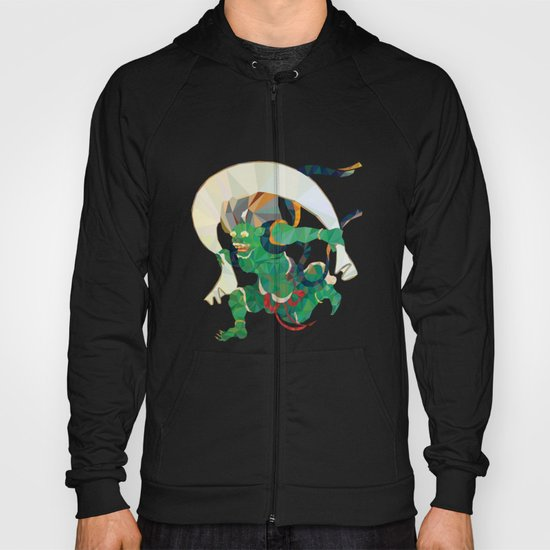 polygonal representation of Fūjin (japanese god of wind) Hoody