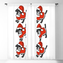 Cute dog dressed in a Santa suit, Santa hat and white beard Blackout Curtain
