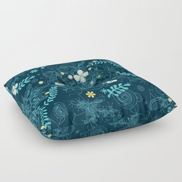 Dark floral delight Floor Pillow