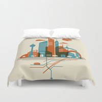 subway Duvet Covers featuring From the Subway to the Sky by Jay Fleck