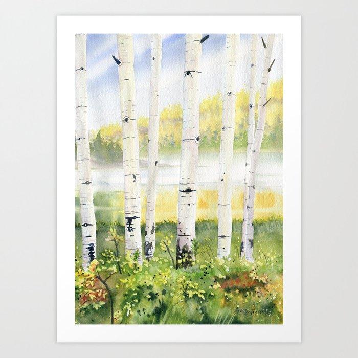 Behind The Birch Trees Kunstdrucke