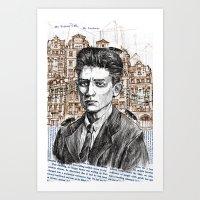 kafka Art Prints featuring Kafka by Nina Palumbo Illustration
