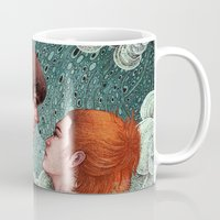 eternal sunshine Mugs featuring Eternal Sunshine - Meet Me In Montauk by Angela Rizza