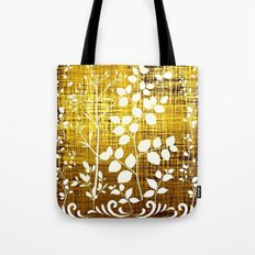 White leaves decor on golden background Tote Bag