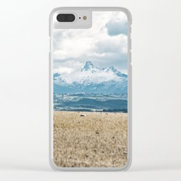 Perspective snowy mountain contrast landscape Clear iPhone Case