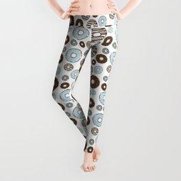 Pattern Of Donuts, Sprinkles, Icing - Blue Brown Leggings