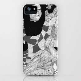 Jesus and Mary - Abstract Ink Drawing iPhone Case