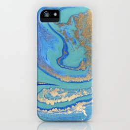 marble stone turquoise and gold iPhone Case