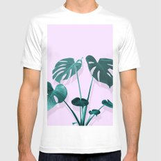 Monstera Palm on Musk Mens Fitted Tee White MEDIUM