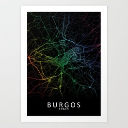 Burgos, Spain, City, Map, Rainbow, Map, Art, Print Art Print