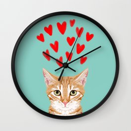 Mackenzie - Orange Tabby Cute Valentines Day Kitten Girly Retro Cat Art cell phone Wall Clock