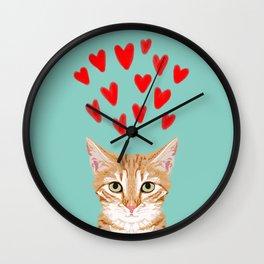Mackenzie - Orange Tabby Cute Valentines Day Kitten Girly Retro Cat Art cell phone Wall Clock