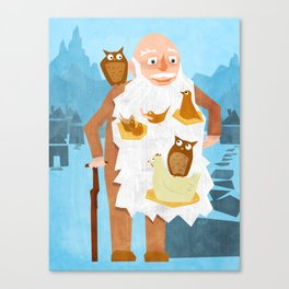 Old Man with Bird Nests in Beard Canvas Print