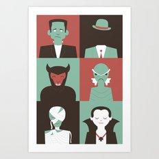 Monster Mash Green Art Print