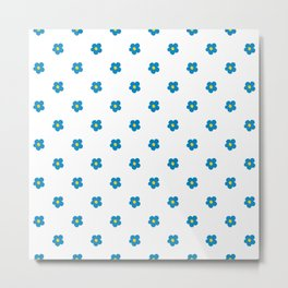 Blue and Yellow Ditsy Pattern Flowers Metal Print