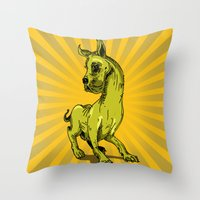 great dane Throw Pillows featuring Great Dane by wahyudi77