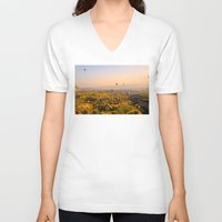 hot air balloons V-neck T-shirts featuring Hot Air Balloons Over Landscape by Limitless Design
