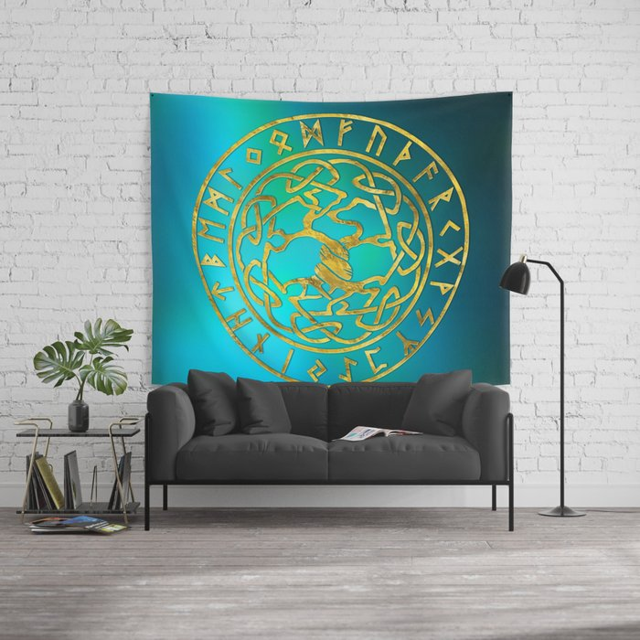 tree of life -yggdrasil and runes alphabet wall tapestry