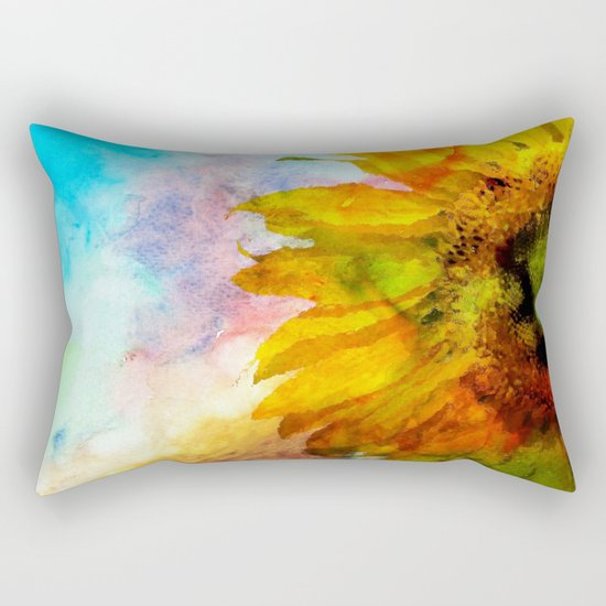 Sunflower on colorful watercolor background- Flowers on #Society6 Rectangular Pillow