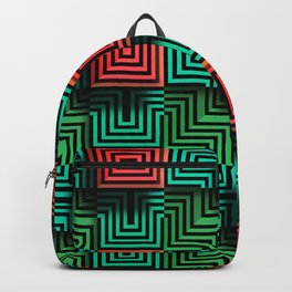 Color op art squares and striped lines with realistic effect Backpack