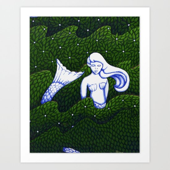Mermaid at the Bottom of the Garden Art Print