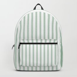 Mattress Ticking Narrow Striped Pattern in Moss Green and White Backpack