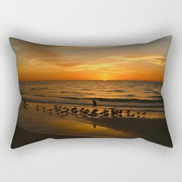 Gulls Gather On The Beach At Sunset Rectangular Pillow